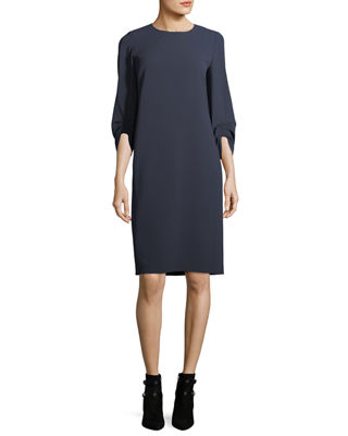 Tory 3/4-Sleeve Finesse Crepe Shift Dress