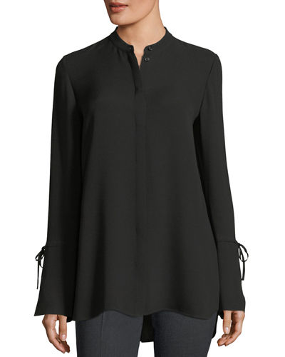 Desra Long Tie-Sleeve Silk Double-Georgette Tunic
