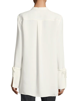 Image 2 of 2: Desra Long Tie-Sleeve Silk Double-Georgette Tunic