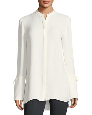 Image 1 of 2: Desra Long Tie-Sleeve Silk Double-Georgette Tunic