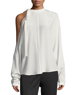 Cold-Shoulder Long-Sleeve Silk Top