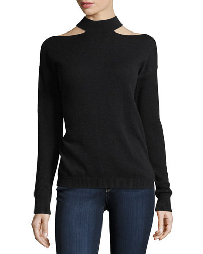 Slash Mock-Neck Long-Sleeve Cashmere Sweater
