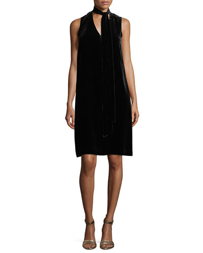 Ronan Sleeveless Tie-Neck Velvet Dress, Plus Size