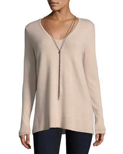 Cashmere V-Neck Pullover w/ Chain Necklace