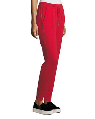 Neiman Marcus Cashmere Collection Cashmere Chain-Trim Track Pants