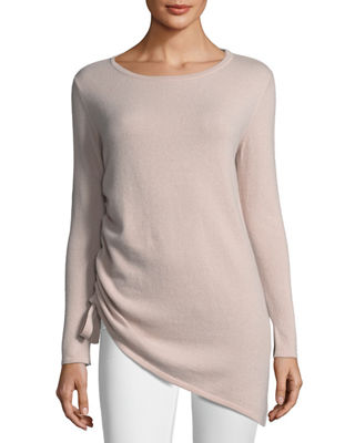Neiman Marcus Cashmere Collection Cashmere Side-Drawstring Sweater