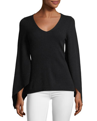 Neiman Marcus Cashmere Collection Bell-Sleeve V-Neck Cashmere