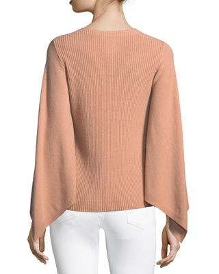 Image 3 of 3: Bell-Sleeve V-Neck Cashmere Sweater