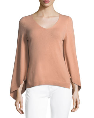 Image 1 of 3: Bell-Sleeve V-Neck Cashmere Sweater
