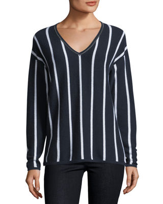Neiman Marcus Cashmere Collection Chain-Trim Striped Cashmere