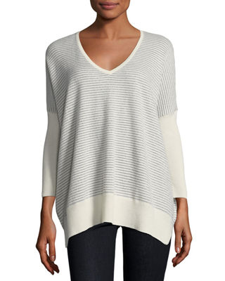 Metallic Mini-Stripe Cashmere-Blend Dolman Sweater
