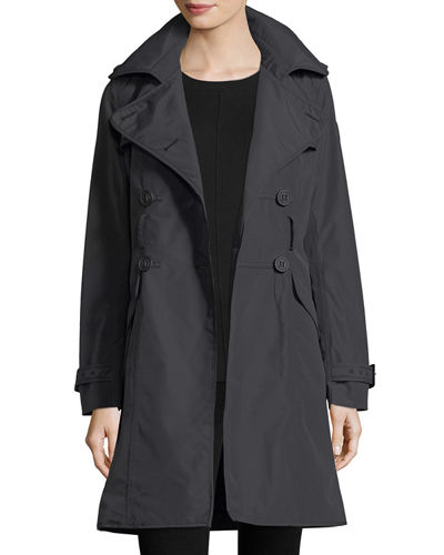 Double-Breasted Belted Parka Jacket