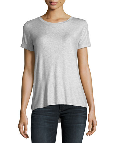 Soft-Touch Metallic Short-Sleeve Top