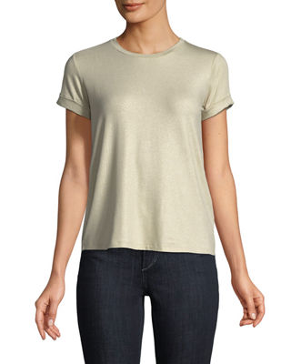 Majestic Paris for Neiman Marcus Soft-Touch Metallic Short-Sleeve