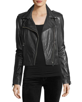 Image 1 of 3: Classic Leather Biker Jacket