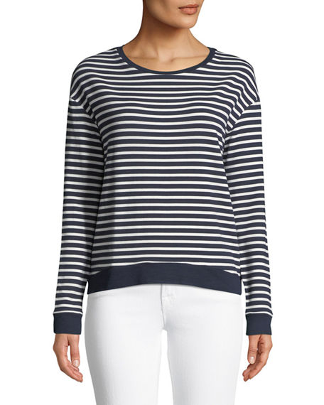 Majestic  STRIPED FRENCH TERRY SWEATSHIRT