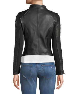 Image 2 of 4: Stripped Leather Motorcycle Jacket