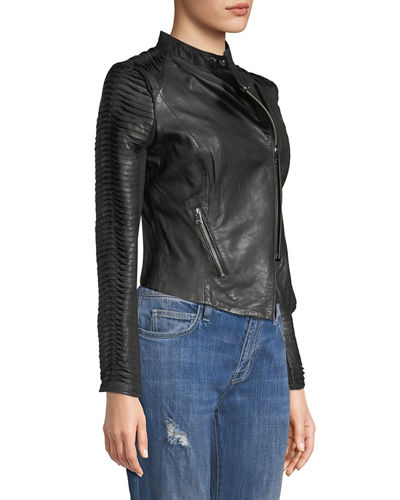Stripped Leather Motorcycle Jacket