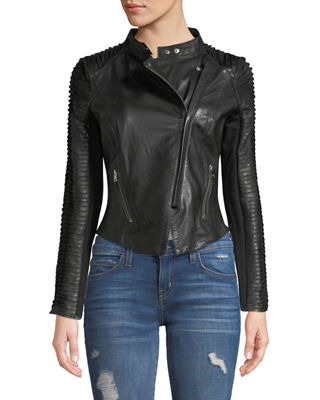 Image 4 of 4: Stripped Leather Motorcycle Jacket