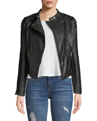 Image 1 of 4: Stripped Leather Motorcycle Jacket