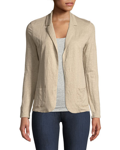 Stretch Linen Blazer Cardigan
