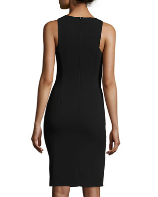 Sleeveless Boat-Neck Crepe Cocktail Dress w/ Gathering