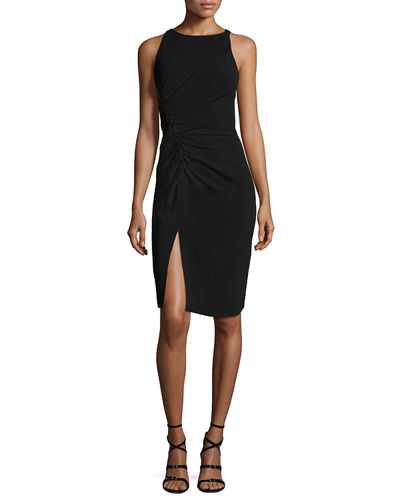 Halston Heritage Sleeveless Boat-Neck Crepe Cocktail Dress w/