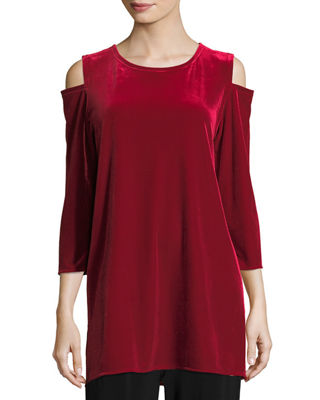 Caroline Rose Stretch Velvet Cold-Shoulder Tunic, Petite