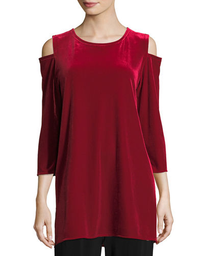 Caroline Rose Stretch Velvet Cold-Shoulder Tunic, Petite and