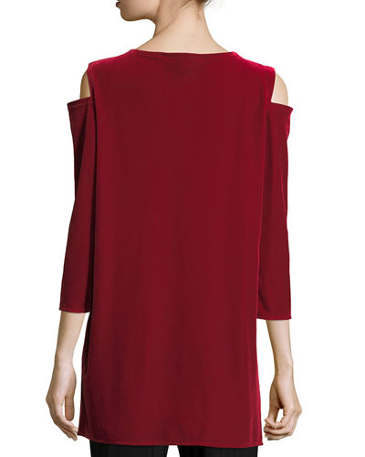 Stretch Velvet Cold-Shoulder Tunic, Plus Size