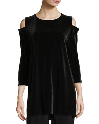 Caroline Rose Stretch Velvet Cold-Shoulder Tunic