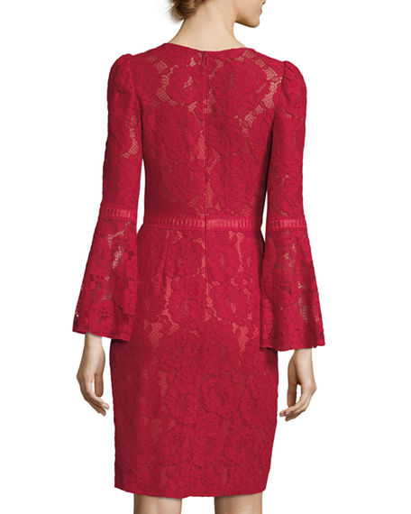 Image 2 of 2: Tadashi Shoji High-Neck Bell-Sleeve Lace Cocktail Dress