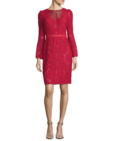 Tadashi Shoji High-Neck Bell-Sleeve Lace Cocktail Dress