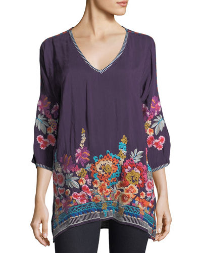 Johnny Was Araxi Floral-Embroidered Tunic, Plus Size