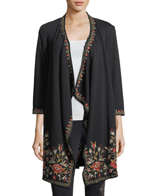 Johnny Was Eleanor French Terry Embroidered Cardigan, Plus