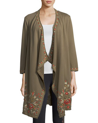 Eleanor French Terry Embroidered Cardigan, Plus Size