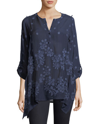 Blossom Rayon Georgette Blouse, Plus Size