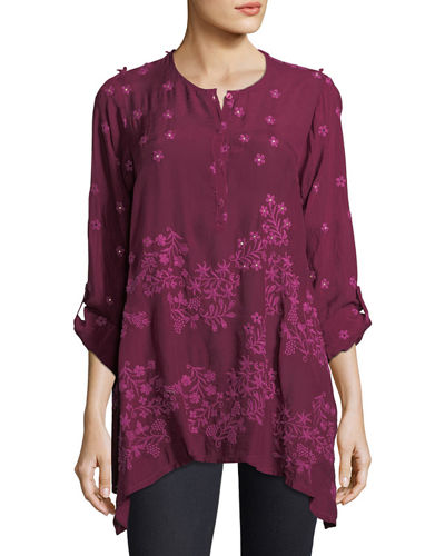 Johnny Was Blossom Rayon Georgette Blouse, Plus Size
