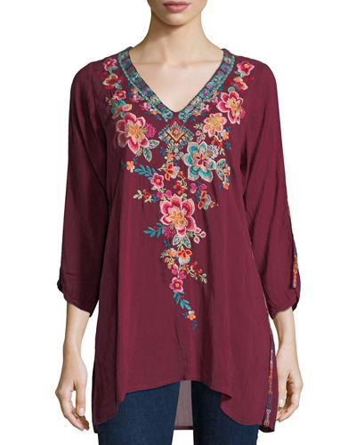 Johnny Was Roma V-Neck Embroidered Long Tunic, Plus