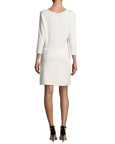 3/4-Sleeve Dress with Tie Detail