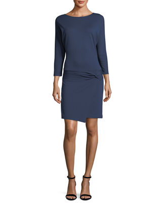 Image 1 of 2: 3/4-Sleeve Dress with Tie Detail