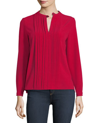 Image 1 of 4: Skaila Pleated-Front Blouse