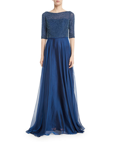 3/4 Sleeves Beaded Chiffon Pleated Evening Gown