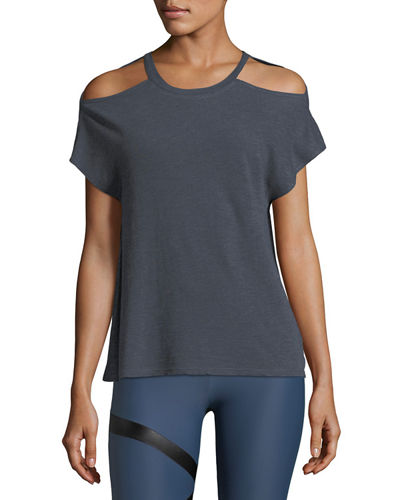 Cutout Short-Sleeve Heathered Tee