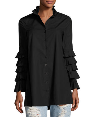 Jonathan Simkhai Pleated Long-Sleeve Button-Front Poplin Blouse