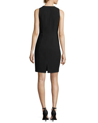 Image 2 of 2: Linzra Zip-Front V-Neck Sheath Dress