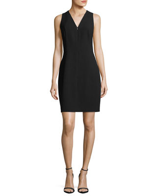 Image 1 of 2: Linzra Zip-Front V-Neck Sheath Dress