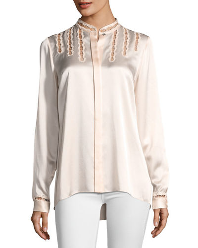 Samaira Silk Lace-Cutout Blouse