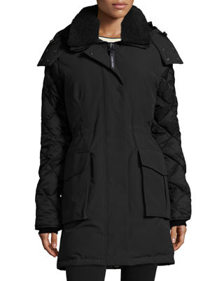 Image 1 of 4: Elwin Hooded Parka Jacket W/ Removable Shearling Collar