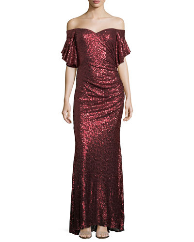Sequin Off-the-Shoulder Evening Gown